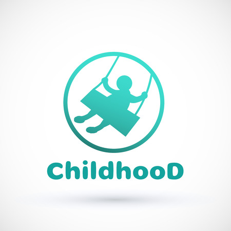 Symbol littlechild swinging on a swing Vector baby icon