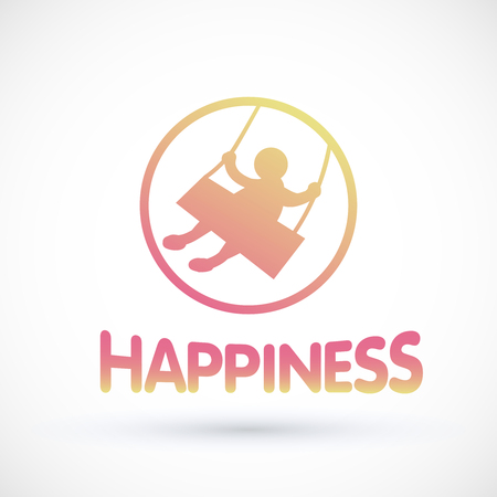Symbol happiness child swinging on a swing Vector baby icon