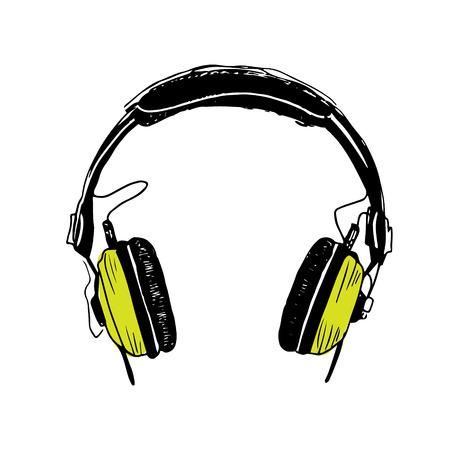 Color green headphones trendy illustration on white background