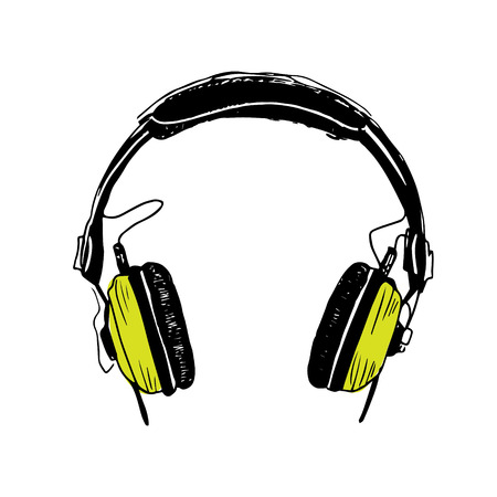 Color green headphones trendy illustration on white background