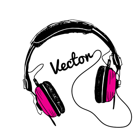 Color headphones pink illustration on white background