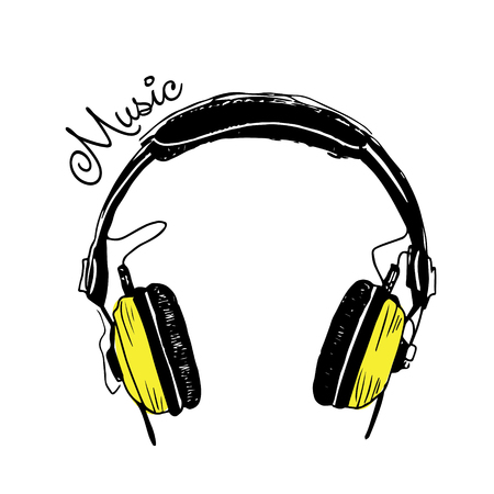 Yellow headphones trendy illustration Illustration
