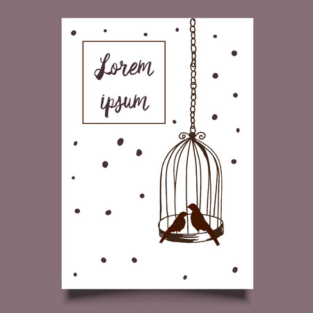 Template card hand drawn illustration birds cage