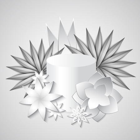 White beautiful exotic composition paper cut flowers and presentation podium Vettoriali