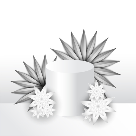 White beautiful composition paper cut exotic flowers and presentation podium