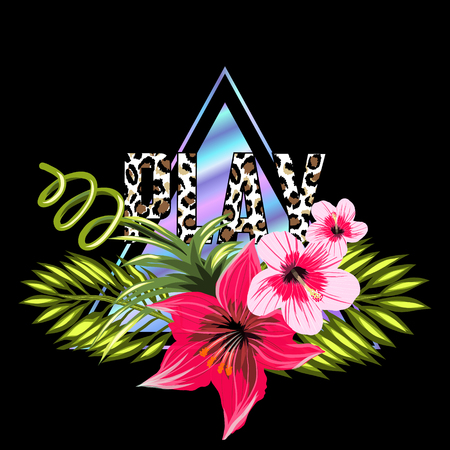 Hologram triangle trendy and flowers isolated on black background