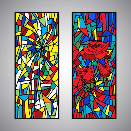 Collezione Rose mosaico colorato in vetro colorato motivo decorativo Vettoriali