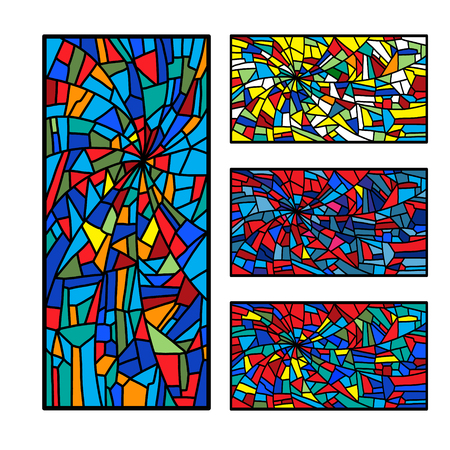 Set bright stained glass decorative pattern colored mosaic