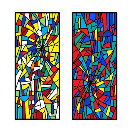 Two stained glass decorative pattern colored mosaic Vetores