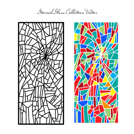 Template stained glass decorative pattern colored mosaic