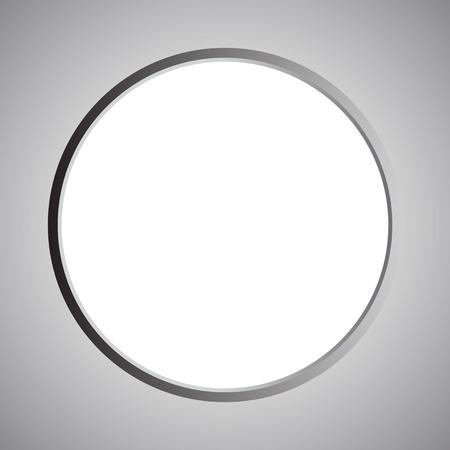 Round white metallic illustration on gray background