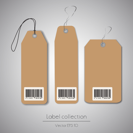 Label cardboard hanging tag collection illustration on gray background