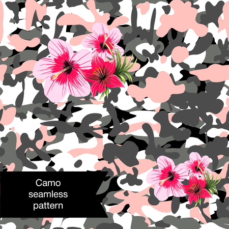 Military print camouflage illustration protection with flowers seamless pattern Illustration