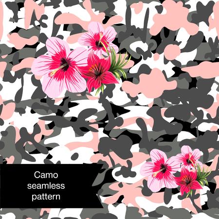 Protection d'illustration de camouflage imprimé militaire avec motif sans couture de fleurs Banque d'images - 95668937