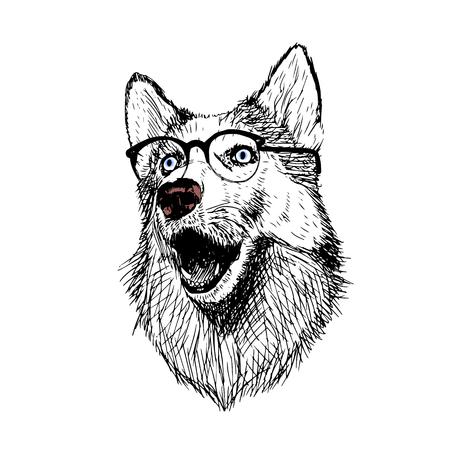 Dog glasses illustration isolated on white background