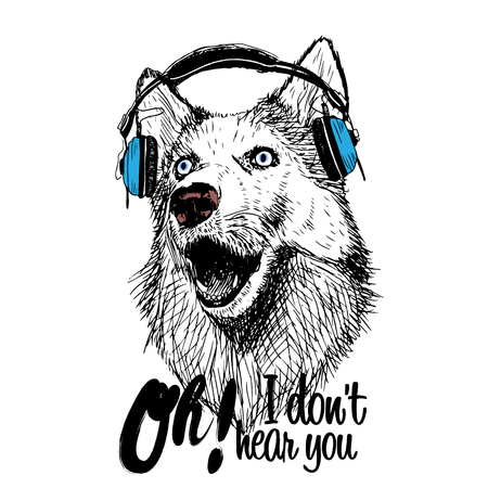 Dog and blue earphones illustration isolated with inscription on white background