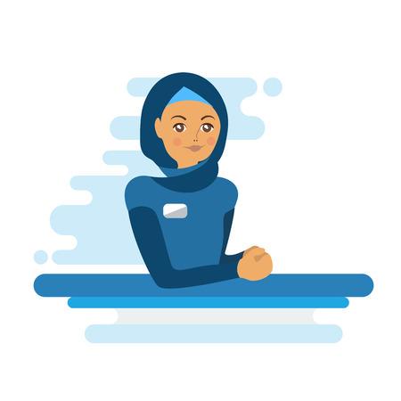 Muslim woman administrator or worker. Colorful flat illustration Illustration