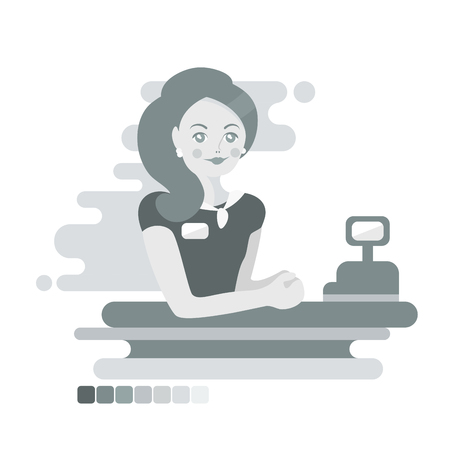 Flat woman cashier or worker. Monochrome illustration  イラスト・ベクター素材