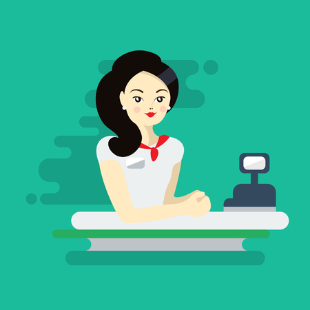 Asian woman cashier or worker. Colorful flat illustration  イラスト・ベクター素材