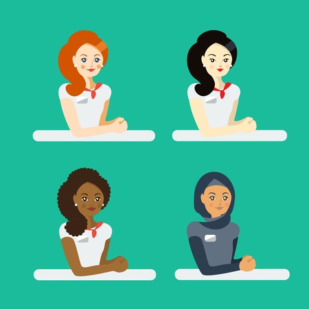 Ethnic set. Women sitting at the table. Colorful illustration