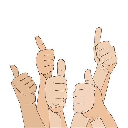 Hand gesture like crowd, cartoon flat illustration on white background