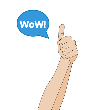 Hand gesture like, cartoon flat illustration on white background