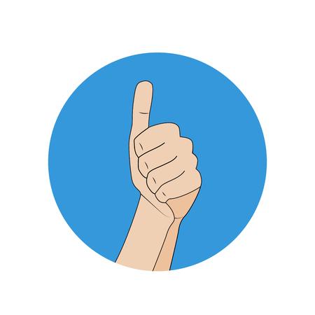 Like hand gesture,blue round cartoon flat icon illustration
