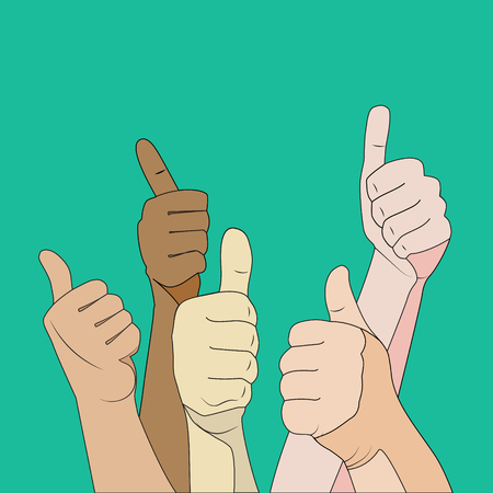 Likes crowd hands gesture, cartoon flat illustration on color background