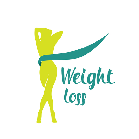 Silhouette green color woman weight loss shape isolated on white background Illustration