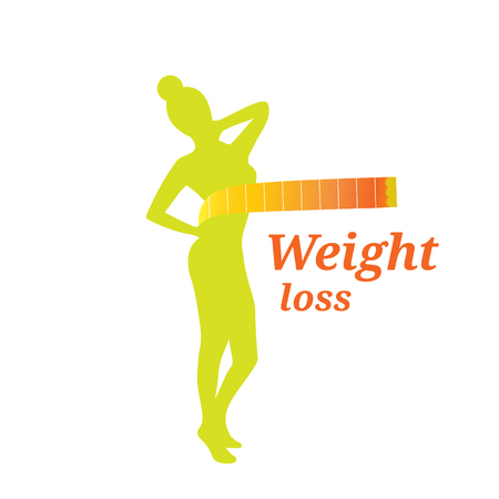Silhouette green color woman weight loss logo isolated on white background Ilustração