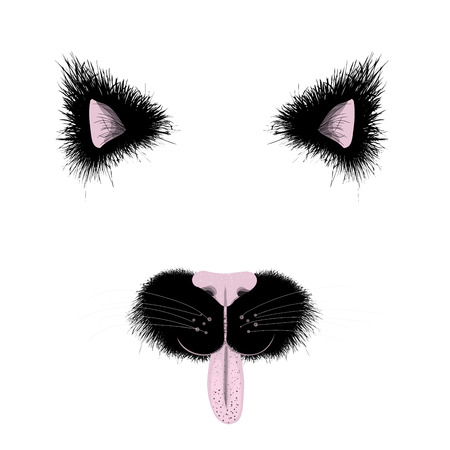 Funny black cat face items. Cat ears and nose details. For photo decoration. Illustration