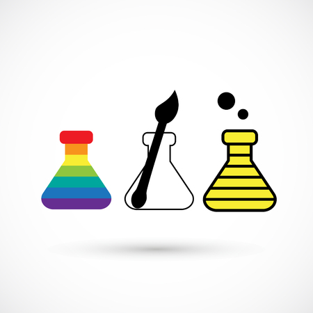 Set rainbow beaker logo creative design art studio Vettoriali