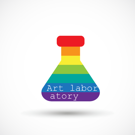 Rainbow beaker art icon, creative design studio. Vettoriali