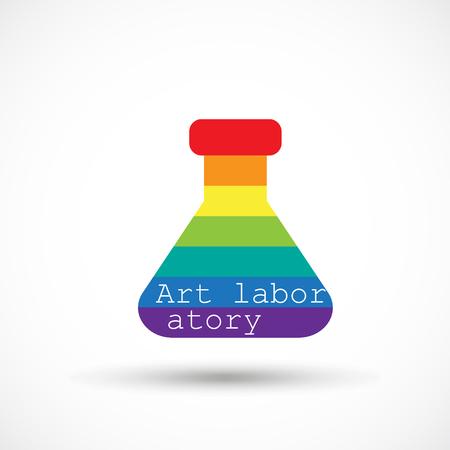 Rainbow beaker art icon, creative design studio. Archivio Fotografico - 95640414