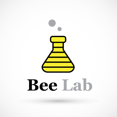 Creative sriped beaker yellow black logo design art