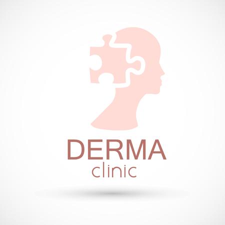 Logo dermatology puzzle skin medical or cosmetology clinic