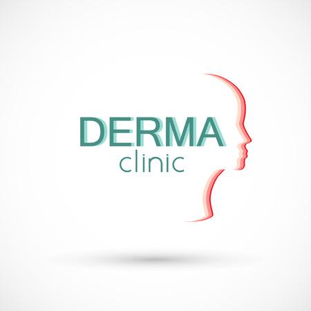 Logo dermatologie huid medische of cosmetologie kliniek
