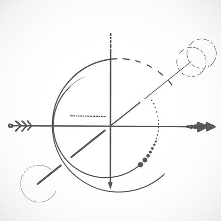 Esquema de geometría símbolo de círculo de línea sagrada sobre fondo blanco y flecha Ilustración de vector