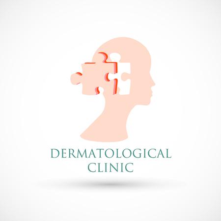 Logo dermatología clínica médica o cosmetología rompecabezas de la piel Foto de archivo - 95671118