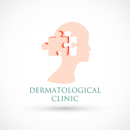 Logo dermatology medical or cosmetology clinic skin puzzle