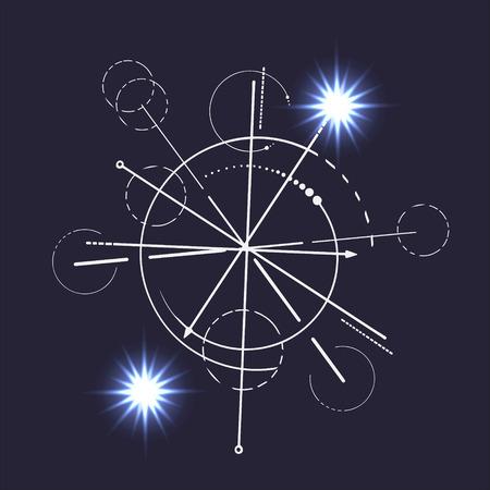 Geometry Sketch Scheme Sacred Line Circle Diagram Symbol On Dark