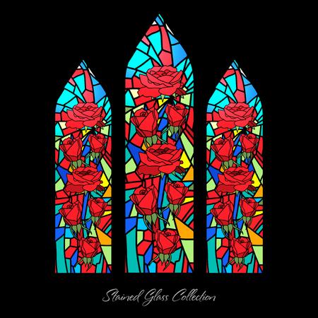 ステンドグラス窓形状花のイラスト、教会モザイク、汚れテクスチャ  イラスト・ベクター素材