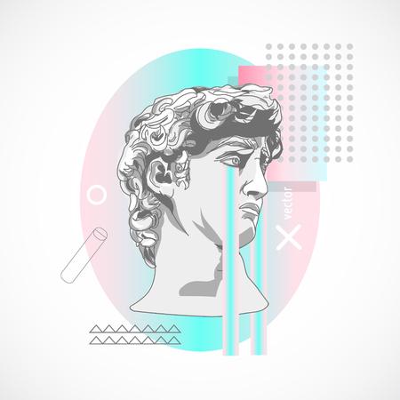 Trendy sculpture modern design Memphis style holographic poster illustration.