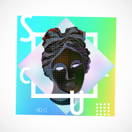 Trendy sculpture modern design Memphis style holographic poster illustration.