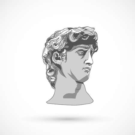 Head sculpture trendy art design statue illustration.