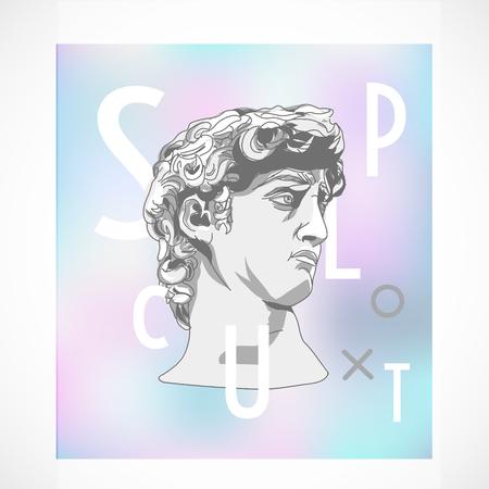 Trendy sculpture modern design memphis style holographic poster illustration
