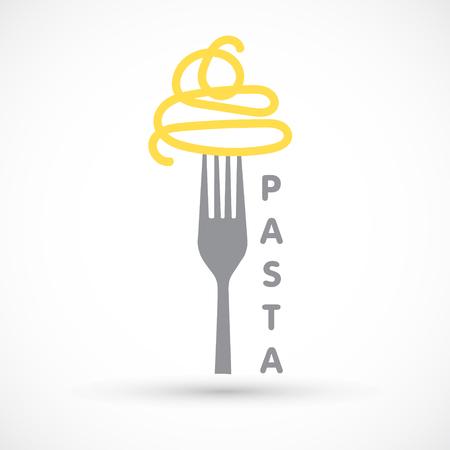 Grafische logo pasta en vork spaghetti pictogram voedsel ontwerp Stockfoto - 98042841