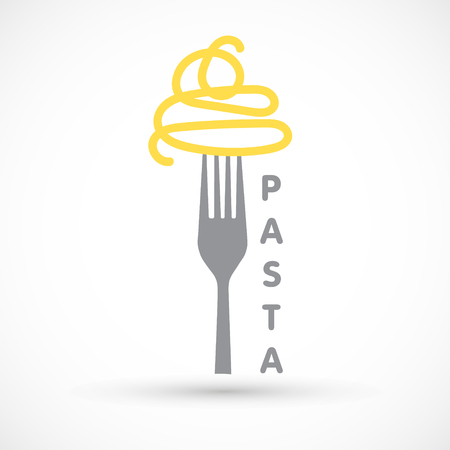 Graphic logo pasta and fork spaghetti icon food design