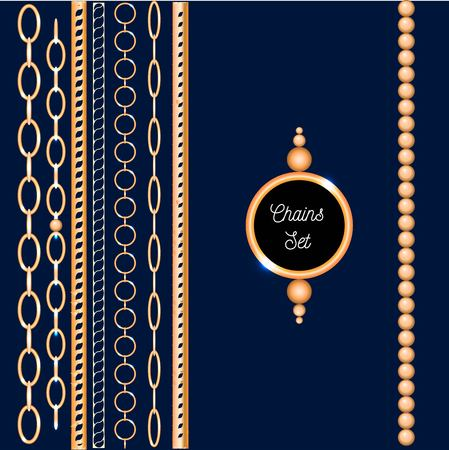 Chain set gold collection vector illustration fashion print Ilustrace