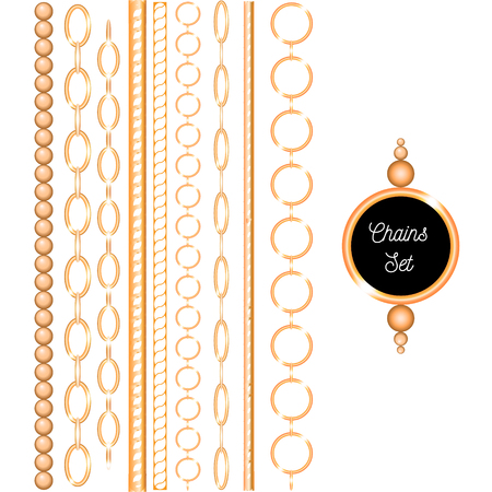 Chain set gold collection vector illustration fashion print